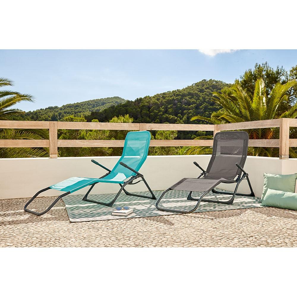 Bain De Soleil Playa Pliant 2 Positions Bleu Émeraude pour Salon De Jardin Pliant