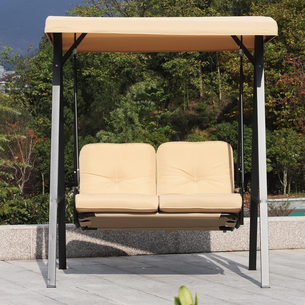 Balancelle De Jardin 2 Places Grand Confort Coussins D'assise Et Dossier  Fournis Accoudoirs Pare-Soleil Sable destiné Balancelle De Jardin 2 Places