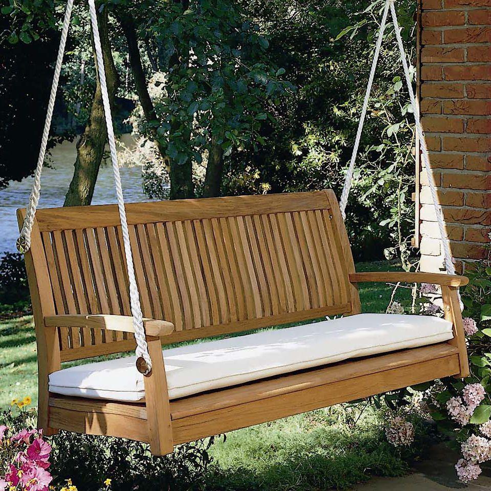 Balancelle De Jardin En Teck / Suspendue / Avec Coussin ... serapportantà Coussins Balancelle Jardin