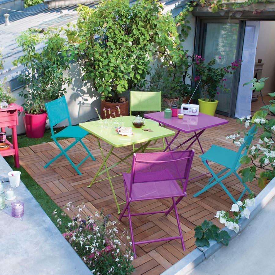 Balkon Dekorasyonu İçin Portatif Masa Ve Sandalye Modelleri ... serapportantà Blooma Salon De Jardin