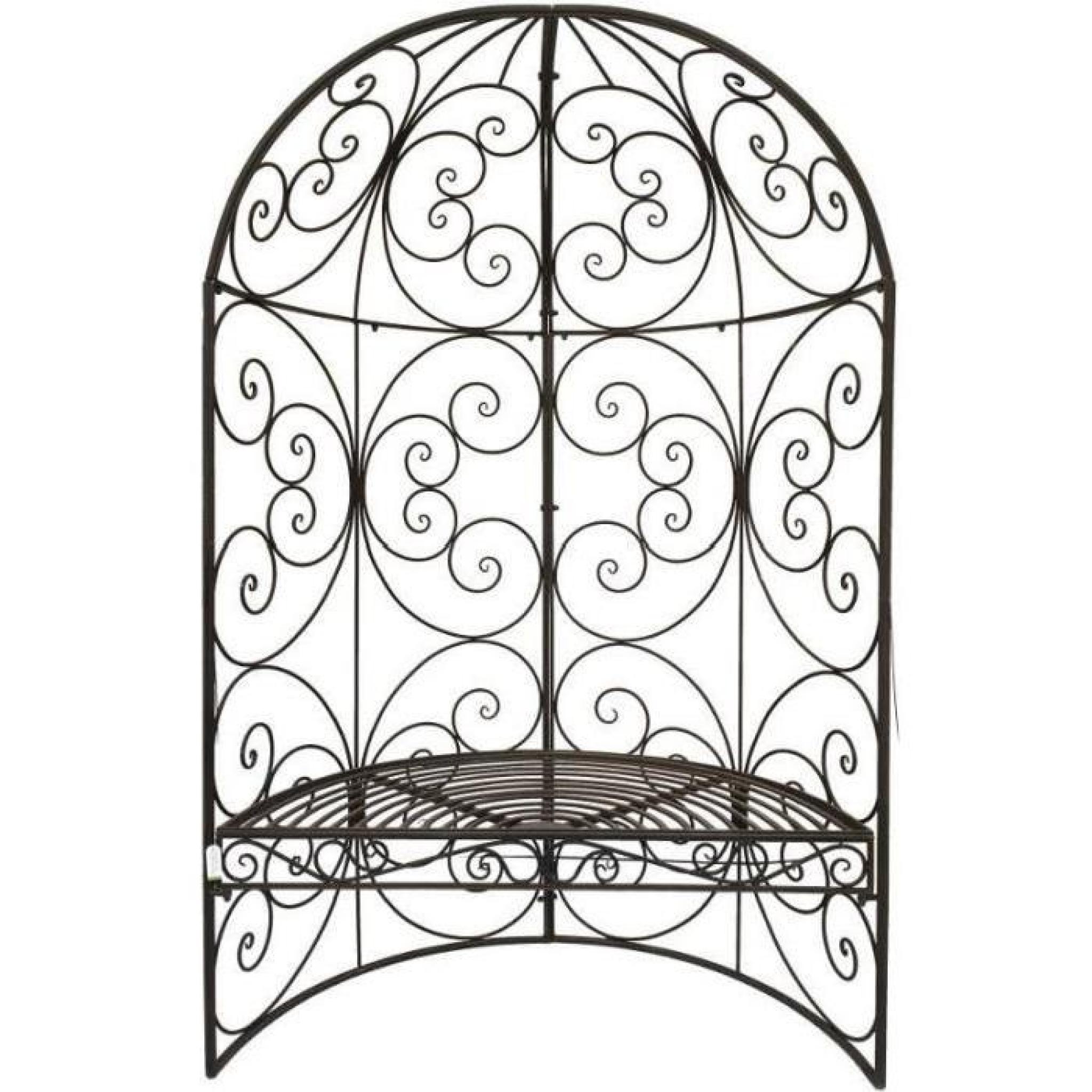 Banc Arche Demi-Lune De Jardin En Fer 185 Cm 119 Cm Gris pour Arche De Jardin En Fer Forgé