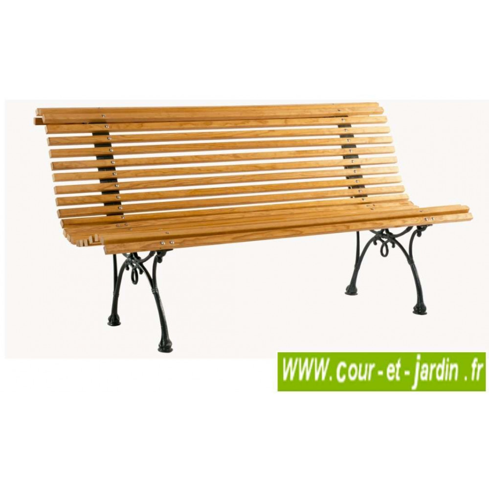 Banc De Jardin Bois: Campos, Pieds Fonte - (150Cm ... avec Banc De Jardin Fonte Et Bois
