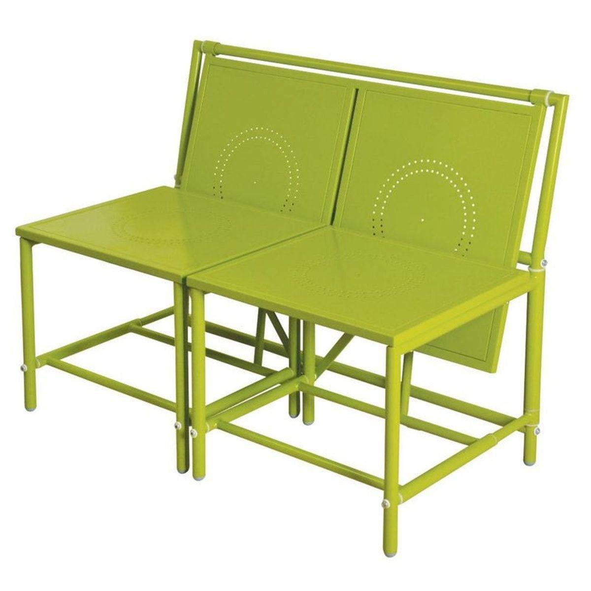 Banc De Jardin Convertible Table + Tabourets En Métal ... serapportantà Banc En Metal Pour Jardin