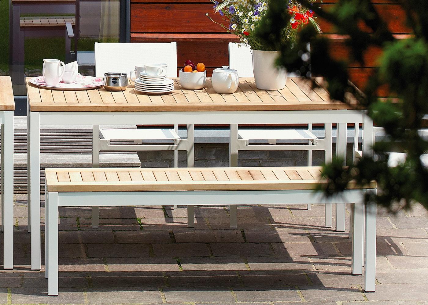Banc De Jardin En Aluminium Et Teck Chez Ksl Living tout Banc De Jardin En Aluminium