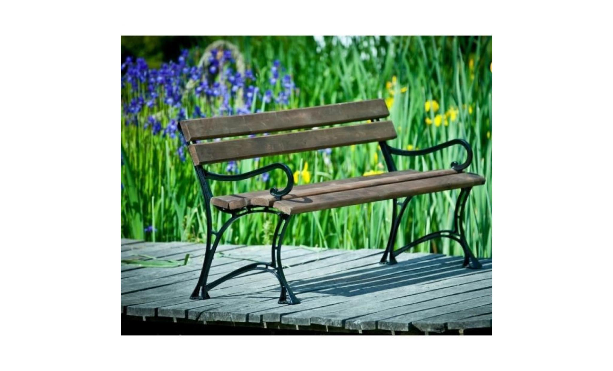 Banc De Jardin En Bois Couleur Palissandre Et Aluminium 150Cm tout Banc En Metal Pour Jardin