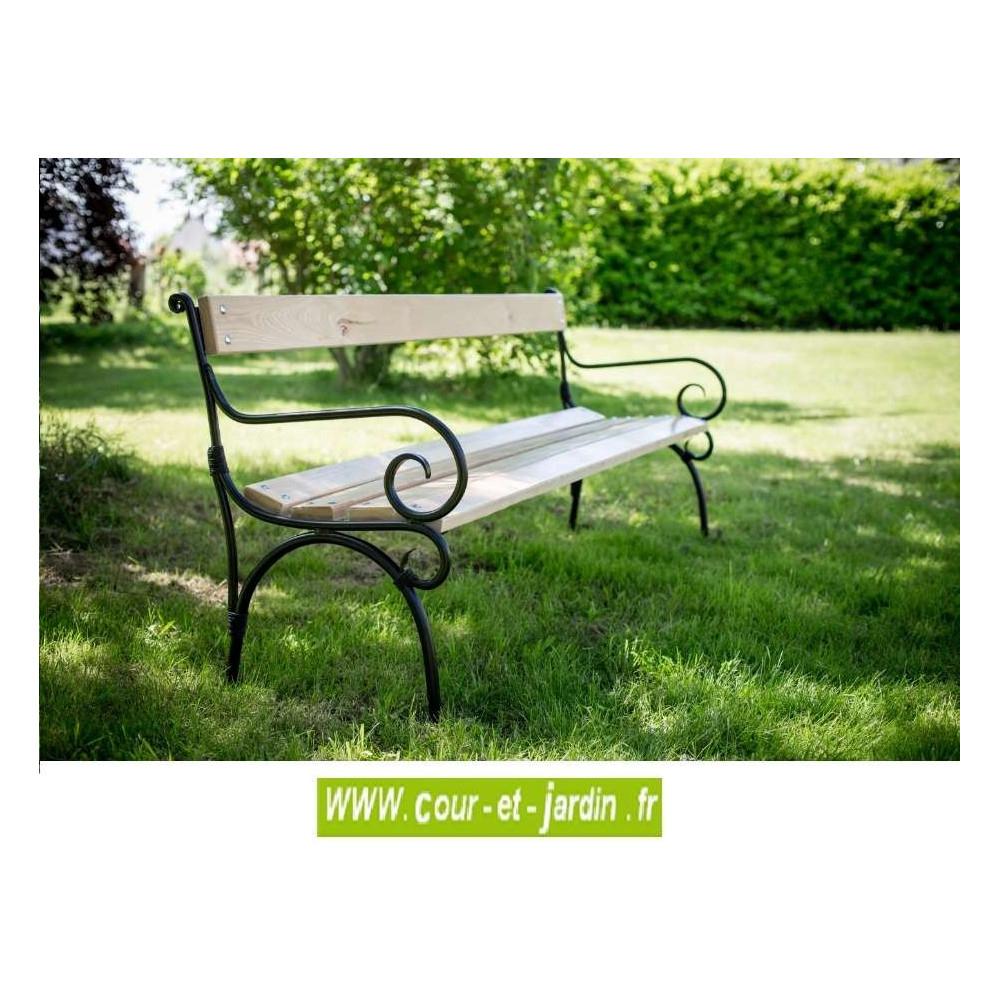 Banc De Jardin En Fer: Alma, À Lattes Bois Et Pieds Métal ... dedans Banc De Jardin Bois Et Fer Forgé
