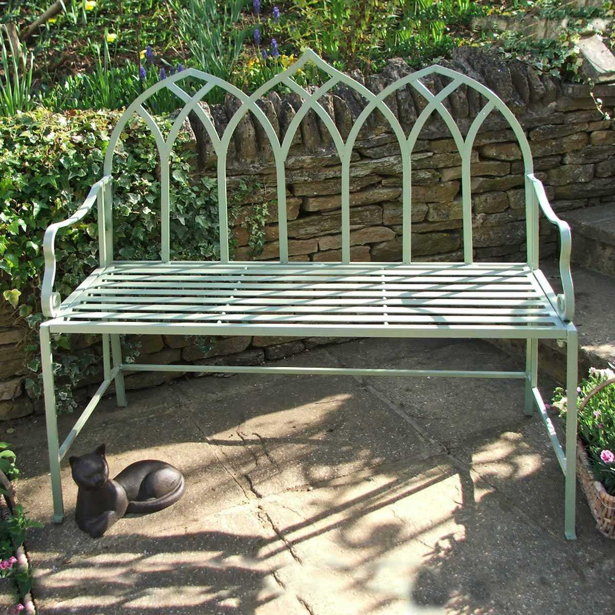 Banc De Jardin En Fer Arche Gothique dedans Banc De Jardin En Resine Blanc