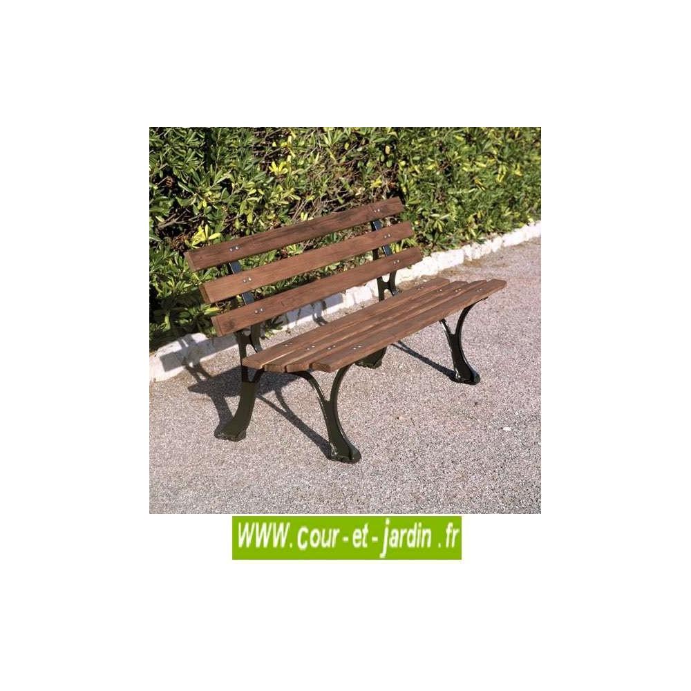 Banc De Jardin En Fonte, Et Bois : Alsace (150Cm) - Mobilier ... pour Petit Banc De Jardin Pas Cher