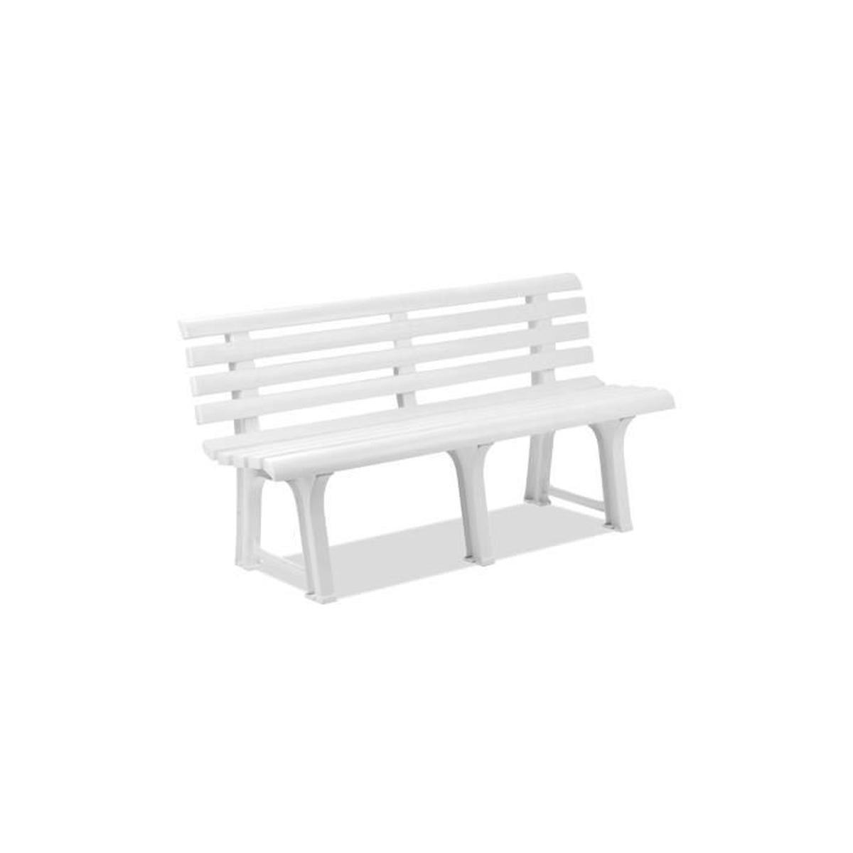 Banc De Jardin En Plastique Blanc - Achat / Vente Banc D ... pour Banc De Jardin Plastique