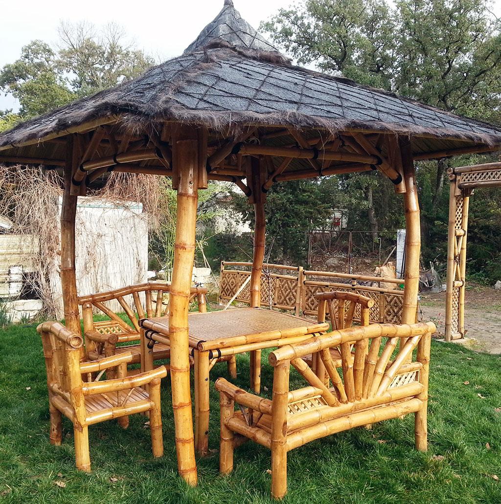 Banc En Bambou - Vente Abris De Jardin En Bambou Et Mobilier ... pour Salon De Jardin En Bambou