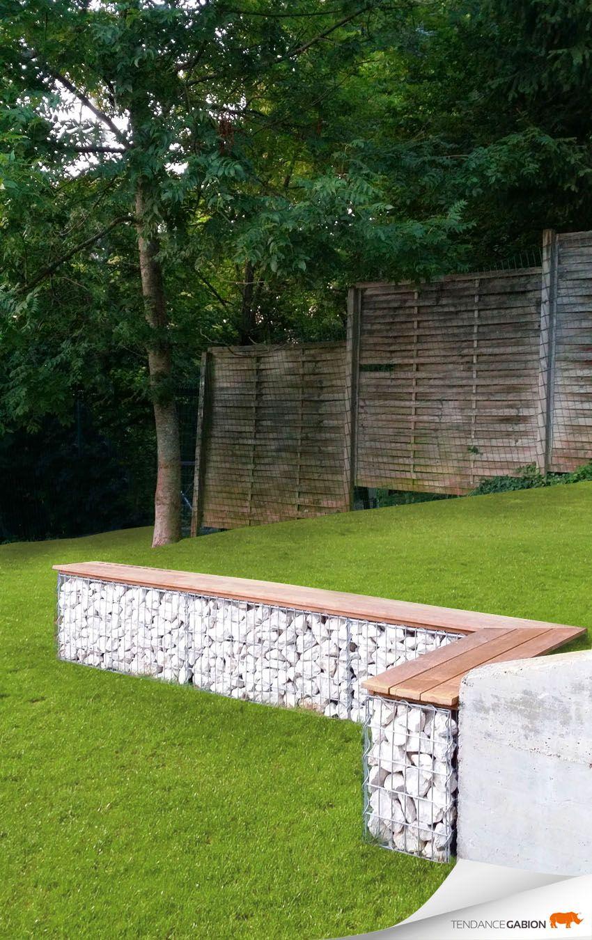 Banc En Gabion Exterieur Plus   Jardins, Amenagement Jardin ... concernant Petit Muret En Pierre Pour Jardin