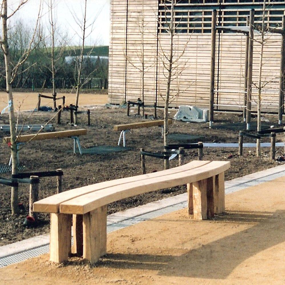 Banc Public / Contemporain / En Chêne / Modulaire - Earth ... dedans Table De Jardin En Bois Avec Banc Integre