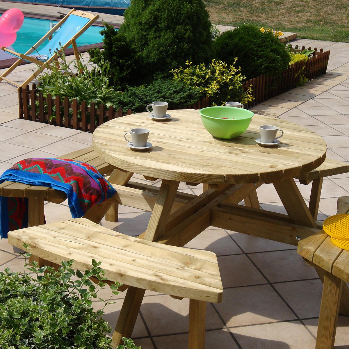 Bancs Table Pique-Nique destiné Table De Jardin En Bois Avec Banc Integre