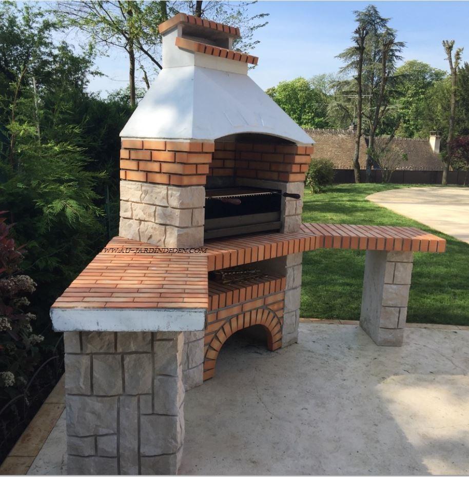 Barbecue D'angle En Pierre Et Brique Ff 53A concernant Barbecue De Jardin En Brique
