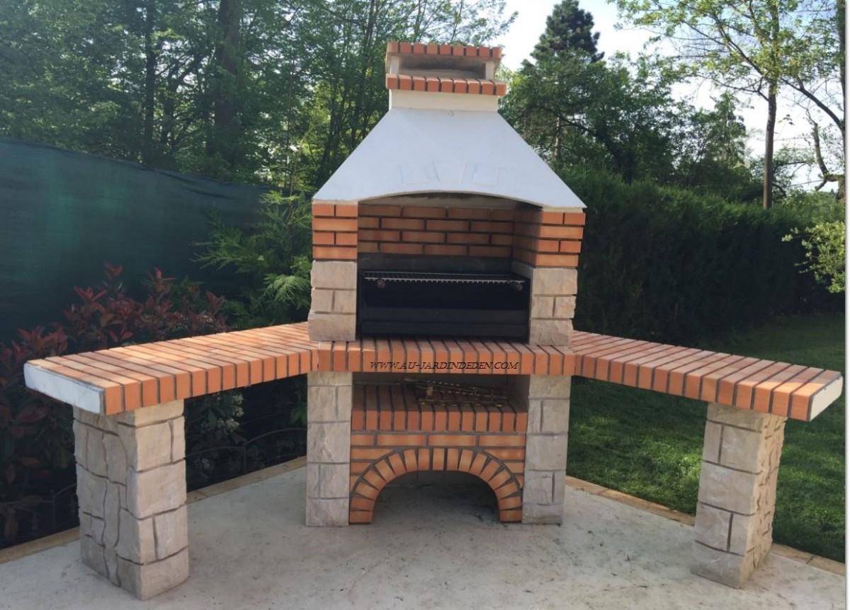 Barbecue D'angle En Pierre Et Brique Ff 53A destiné Barbecue De Jardin En Brique