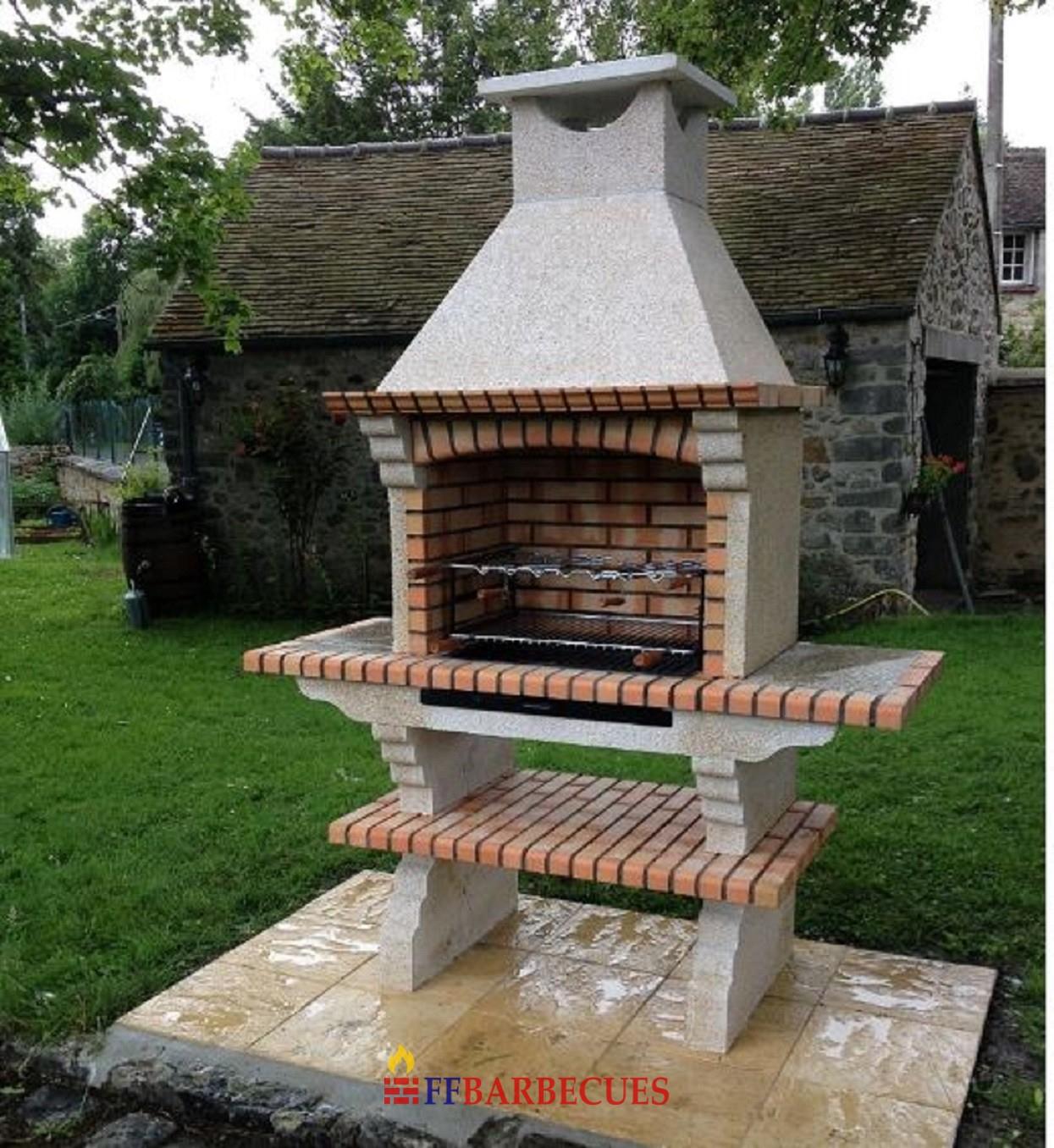 Barbecue Fixe Exterieur En Pierre Et Brique Refractaire Ff200-F concernant Barbecue De Jardin En Brique