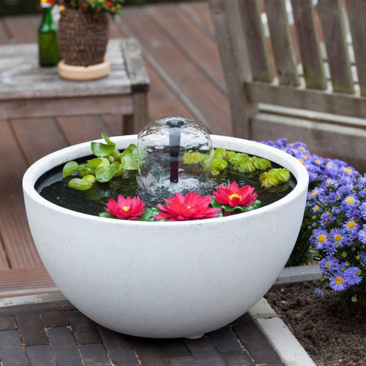 Bassin De Jardin Mini Bassin Rond 55 Cm Blanc + Pompe Mini ... intérieur Bassin De Jardin Pas Cher
