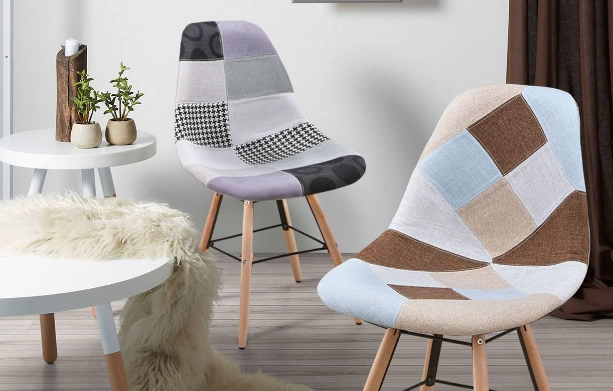 Beige Et Scandinave Patchwork Chaise De Design 2 Marron Lot ... tout Salon De Jardin Tressé Leclerc