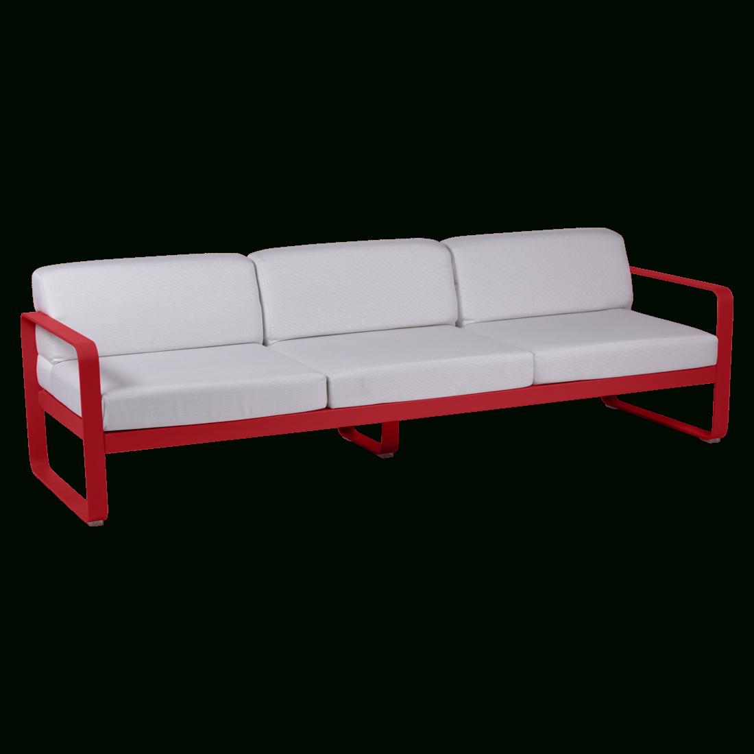 Bellevie 3-Seater Sofa With Off-White Cushions, Garden Sofa ... concernant Salon De Jardin Rouge