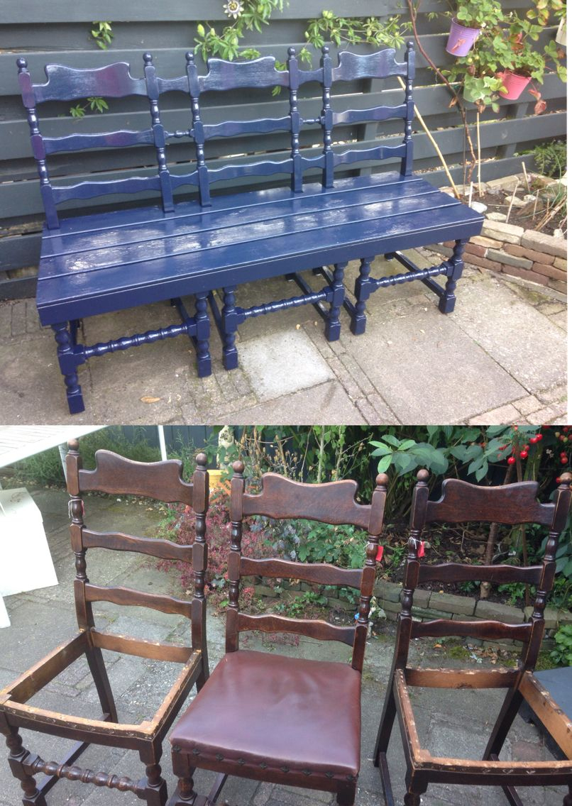 Bench Made Of 3 Old Chairs To Do For The Island | Mobilier ... intérieur Meuble Jardin Metal