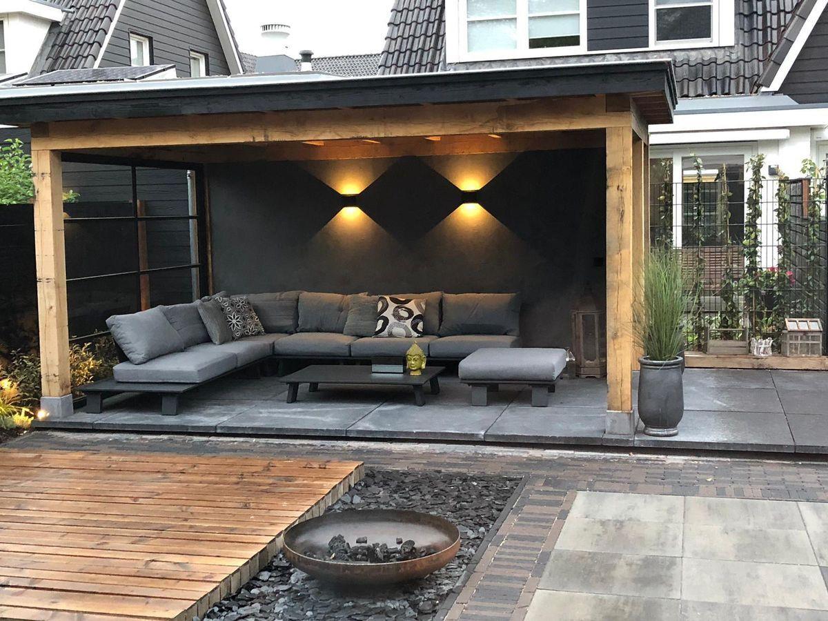 Betonlook Muur Op Veranda / Tuin / Terras / Overkapping ... concernant Bache Noire Jardin