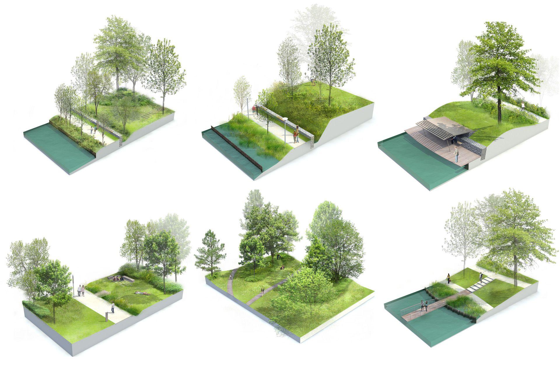 Blocs 3D Éclatés Sur Les Thématiques D'aménagement Du Parc ... avec 3D Jardin & Paysagisme