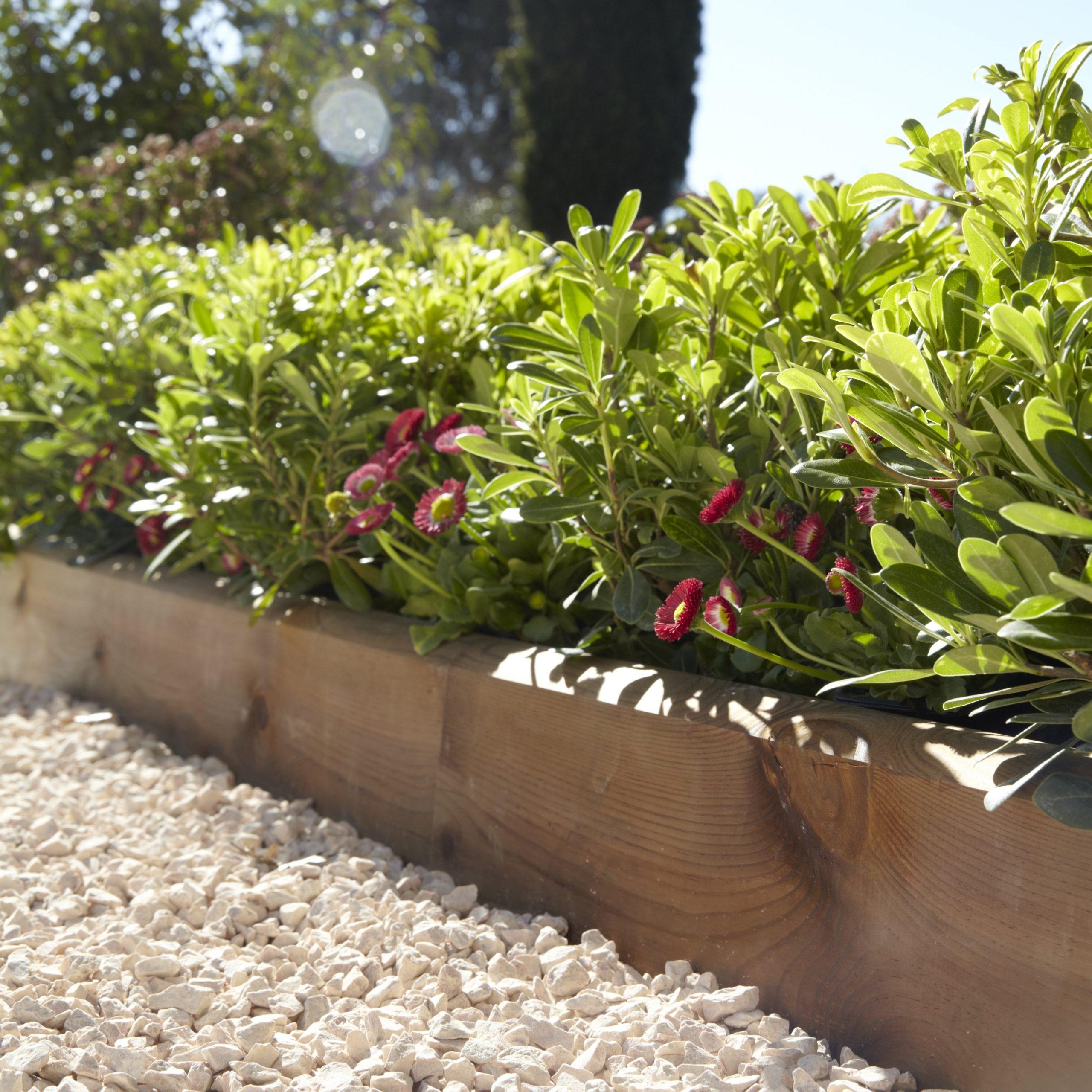 Bordure À Planter Kuhmo Bois Marron, H.20 X L.120 Cm destiné Bordure De Jardin En Bois Pas Cher