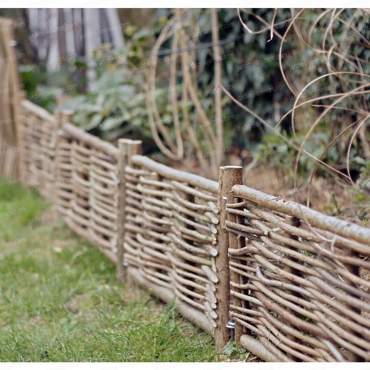 Bordure Bois Noisetier Avec Tige à Bordure De Jardin En Osier Tressé