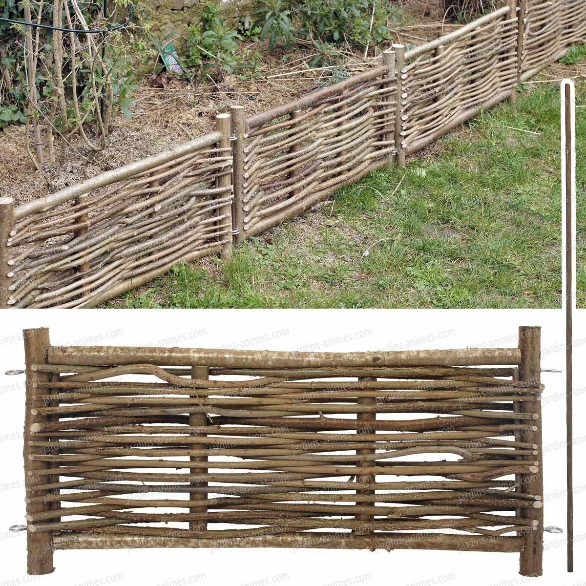 Bordure Bois Noisetier Avec Tige | Bordure Jardin, Bordure ... pour Ecorce Pour Jardin Pas Cher