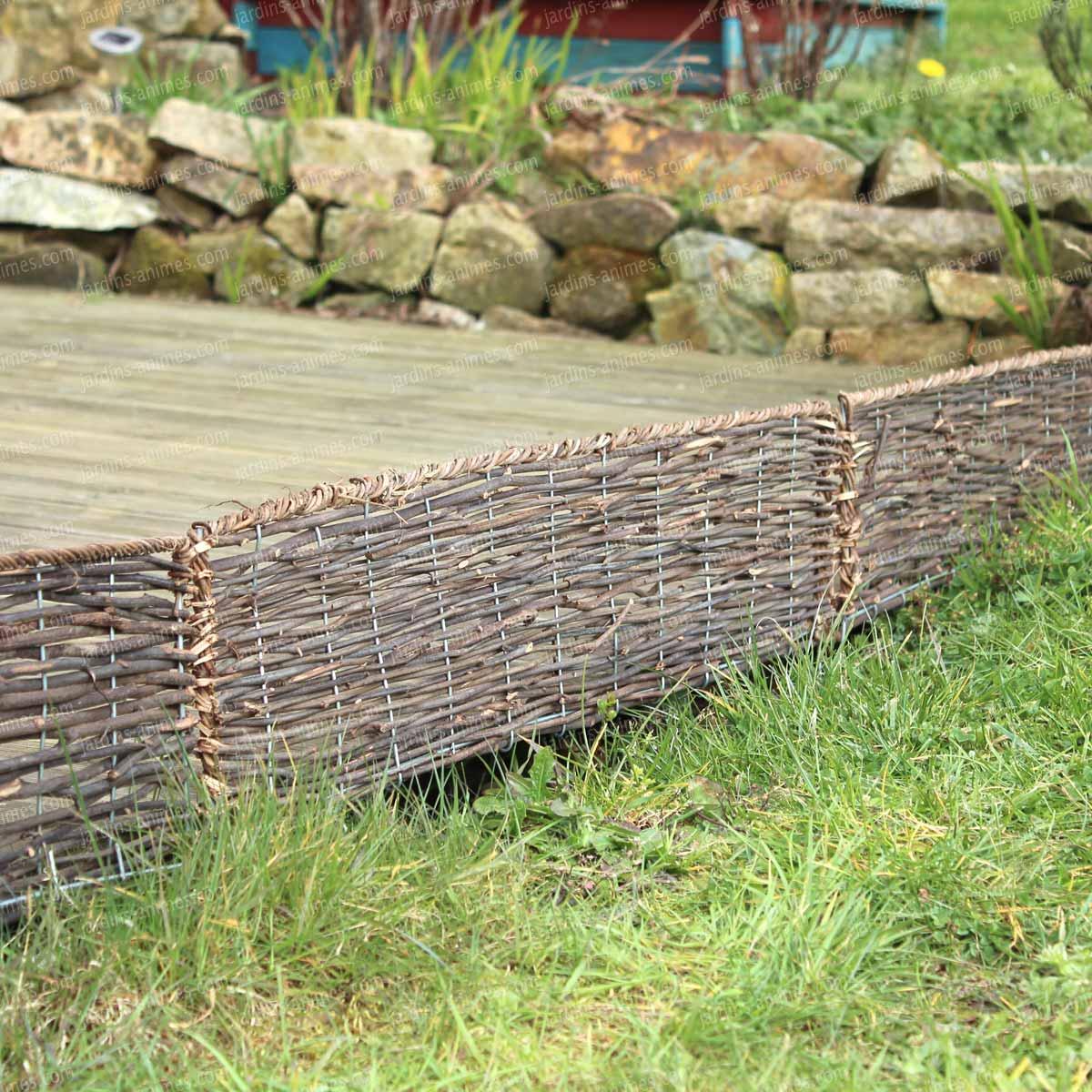 Bordure Bois Pliable - Rotin Osier L.95Cm X H.20Cm destiné Bordure De Jardin En Osier Tressé