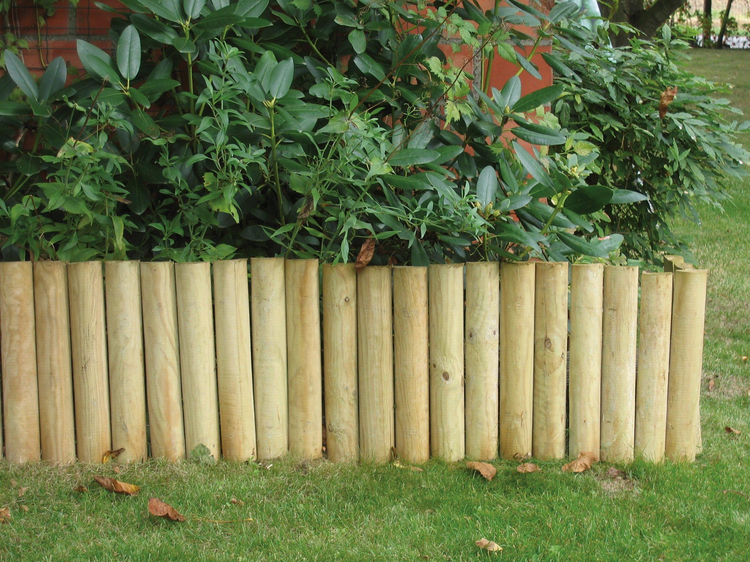 Bordure Demi Ronde En Bois 180 X 20 X 5 Cm Autoclave Solid - Mr.bricolage serapportantà Bordure Jardin Demi Rondin Bois