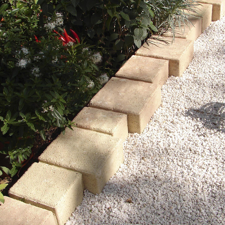 Bordure Droite Ludik Pagnol Béton Saumon, H.15 X L.50 Cm ... avec Bordure De Jardin En Ciment Leroy Merlin