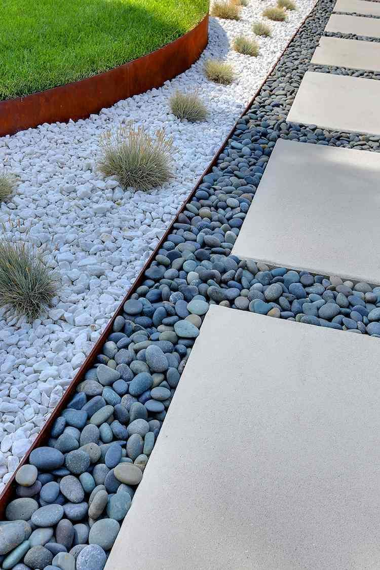 Bordure Jardin Metal Deco Galets Gris Blancs #jardin #garden ... à Galet Decoration Jardin