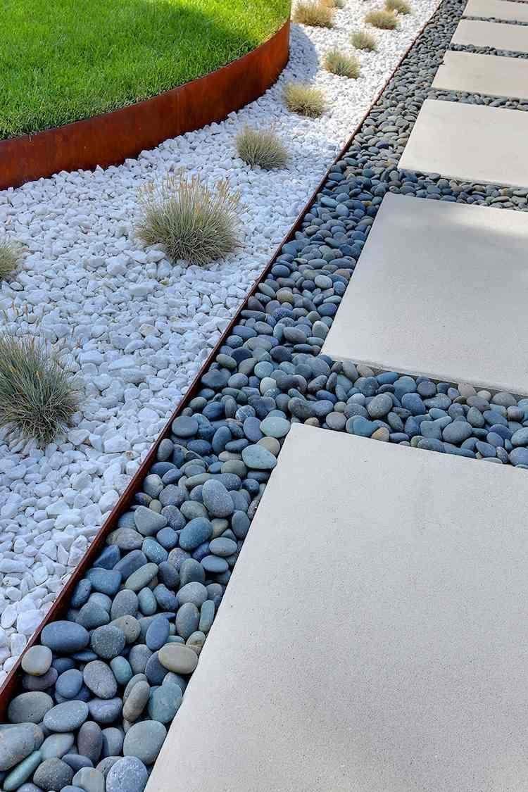 Bordure Jardin Metal Deco Galets Gris Blancs #jardin #garden ... concernant Galet Blanc Jardin