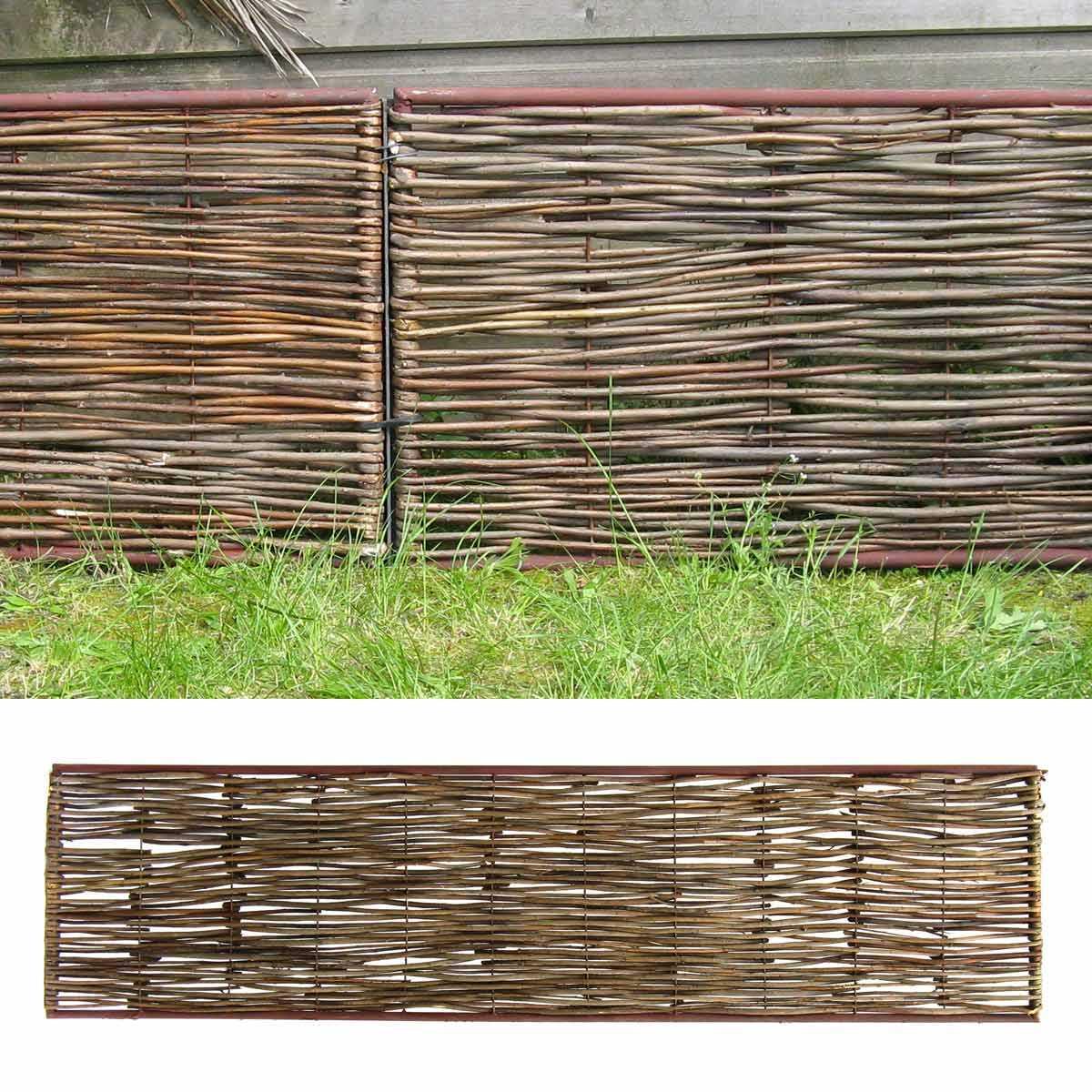 Bordure Médiévale Bois Acacia - Cadre Métal Haut.45Cm + Tige à Bordure Jardin Metal