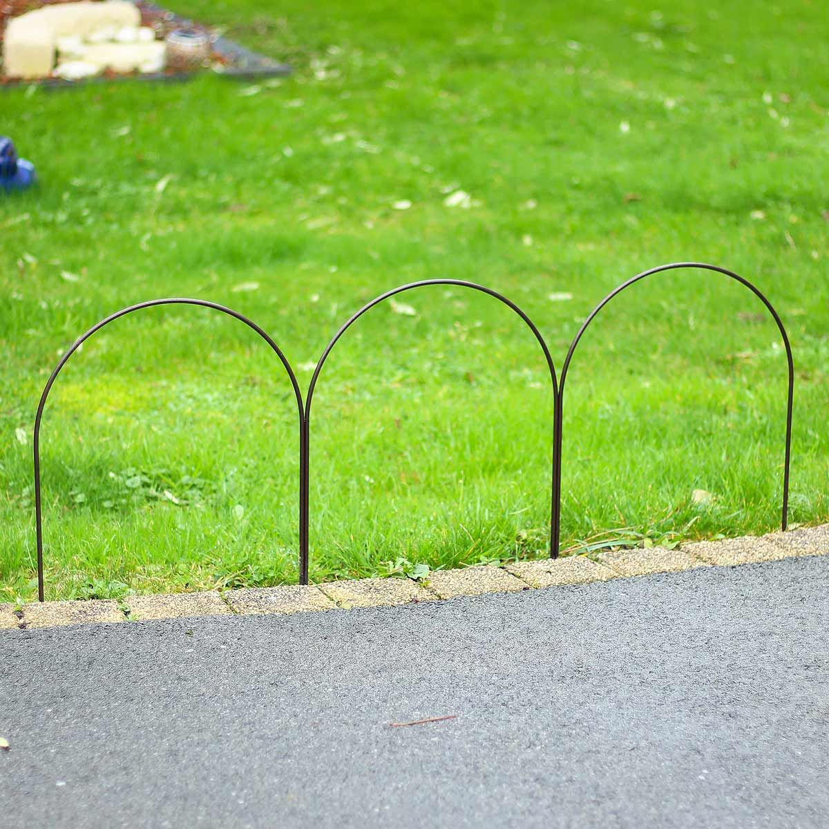 Bordure Triple Arceaux En Acier Plein L.100Cm X H.40Cm ... pour Bordure Caoutchouc Jardin