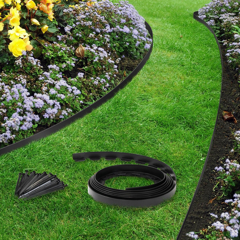 Bordurette De Jardin Flexible Noire 10 M Avec 30 Piquets D\'ancrage... serapportantà Bordure Jardin Pas Cher