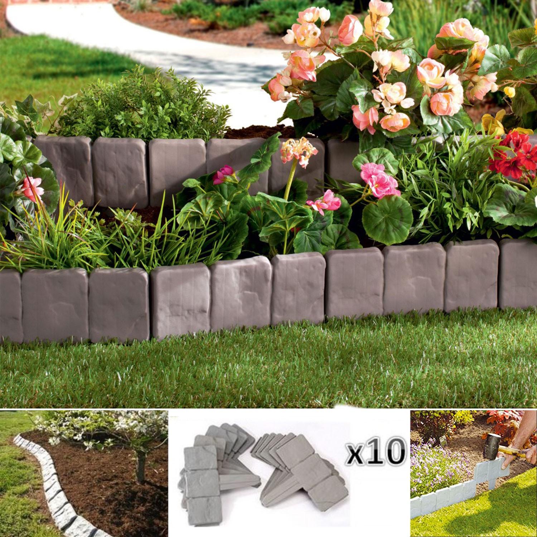 Bordurette De Jardin Imitation Pierre X10 Pièces Probache dedans Bordure Jardin Pas Cher