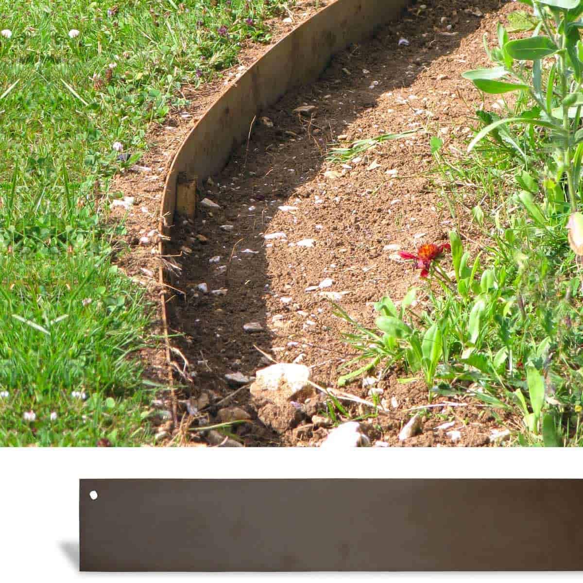Bordurette De Jardin Métal Acier 1.8M - Lot De 4 destiné Bordure Jardin Caoutchouc