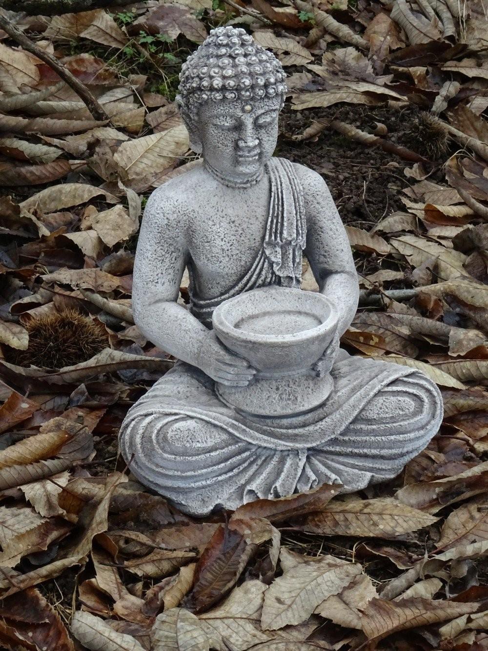 Bouddha Portant Une Coupe , 41 Cm, Pierre Reconstituée, à Statue De Jardin En Pierre Reconstituée