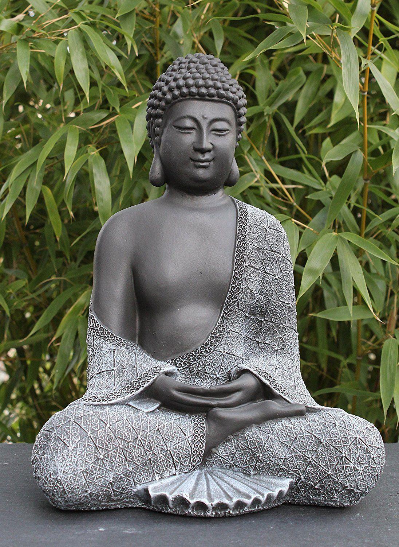 Bouddha Statue En Pierre, Gris Ardoise, Décoration Figurine ... serapportantà Bouddha Pour Jardin Pas Cher