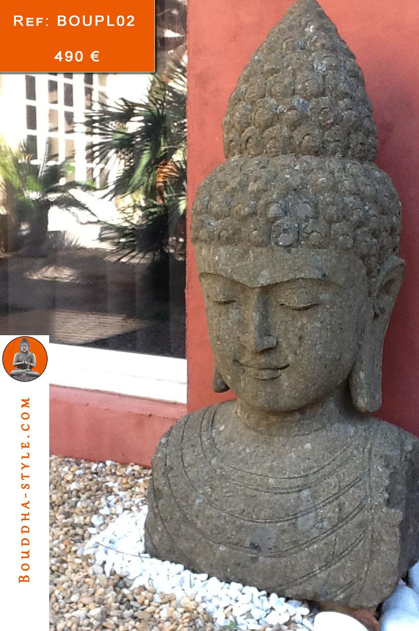 Bouddha-Style, Vente De Bouddha En Pierre De Lave, Bouddha ... à Tete De Bouddha Pour Jardin