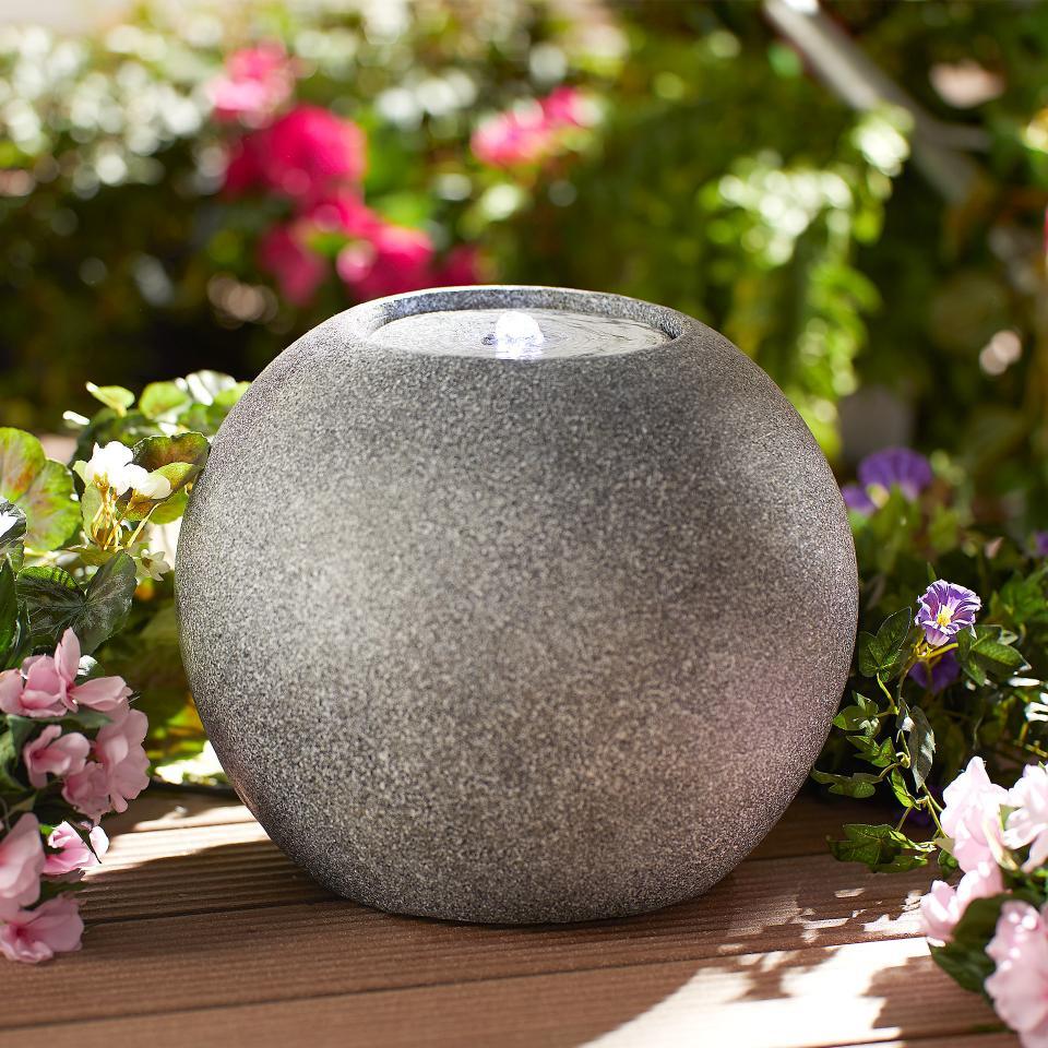 Boule De Fontaine De Jardin Avec Éclairage Led (Gris) à Boule Décorative Jardin