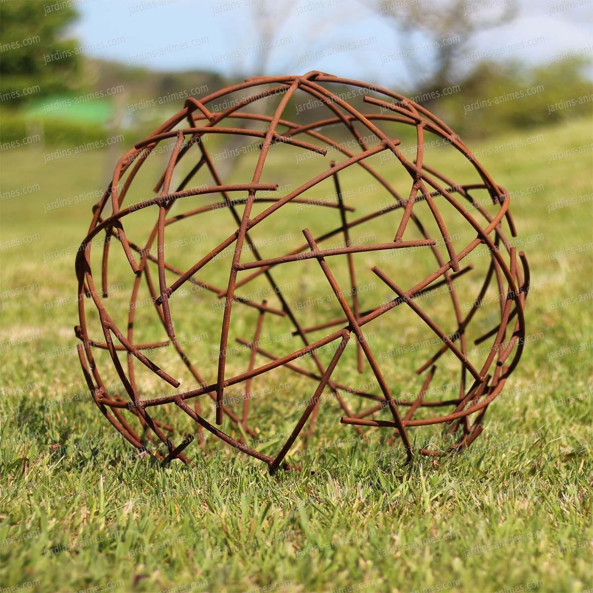 Boule Fil De Fer - Déco Jardin En Métal Diam. 50Cm à Boule Décorative Jardin
