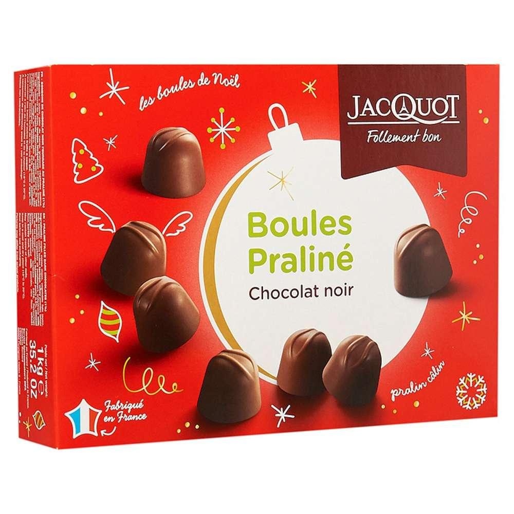 Boules Pralinés Jacquot Chocolat Noir intérieur Pralin Jardin