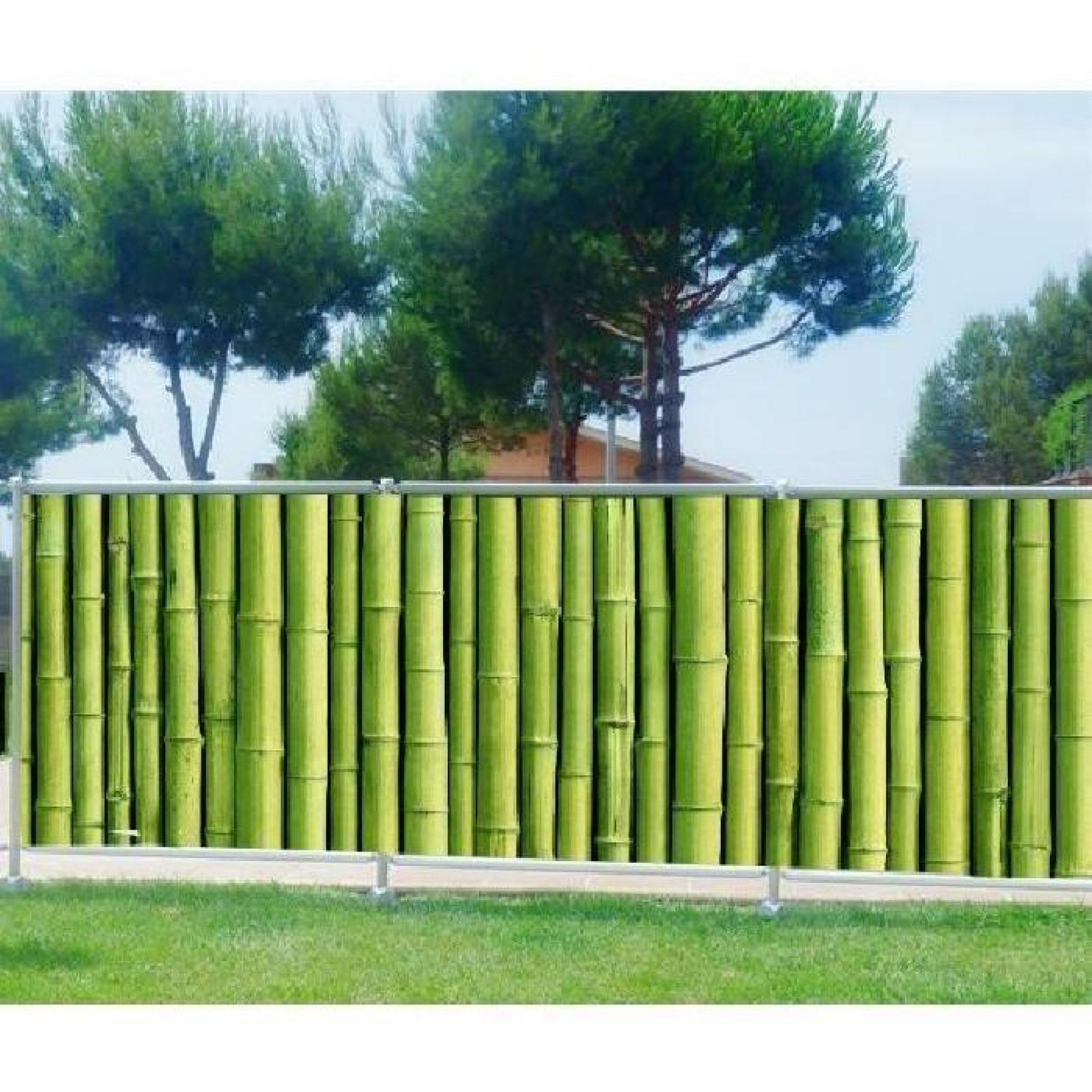 Brise Vue Imprimé, Jardin, Terrasse, Balcon Déco Bambous Occultation - 80%,  Dimensions - 340X132Cm avec Brise Vue Jardin Pas Cher