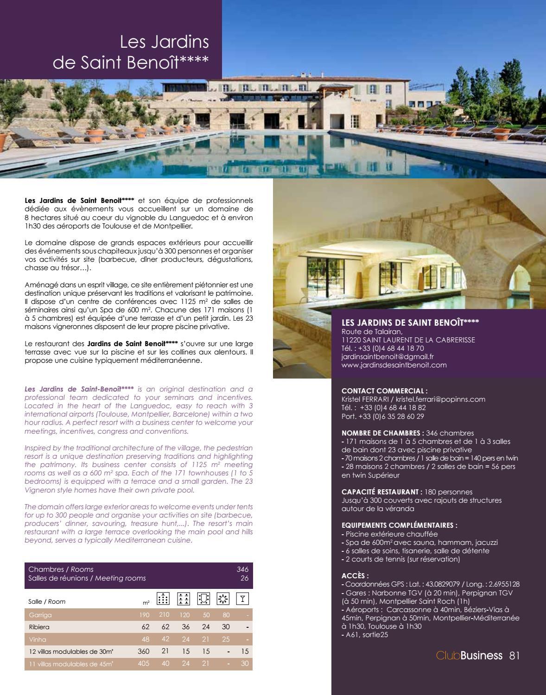 Brochure Club Business By Sud De France Développement - Issuu destiné Les Jardins De Saint Benoit Carcassonne