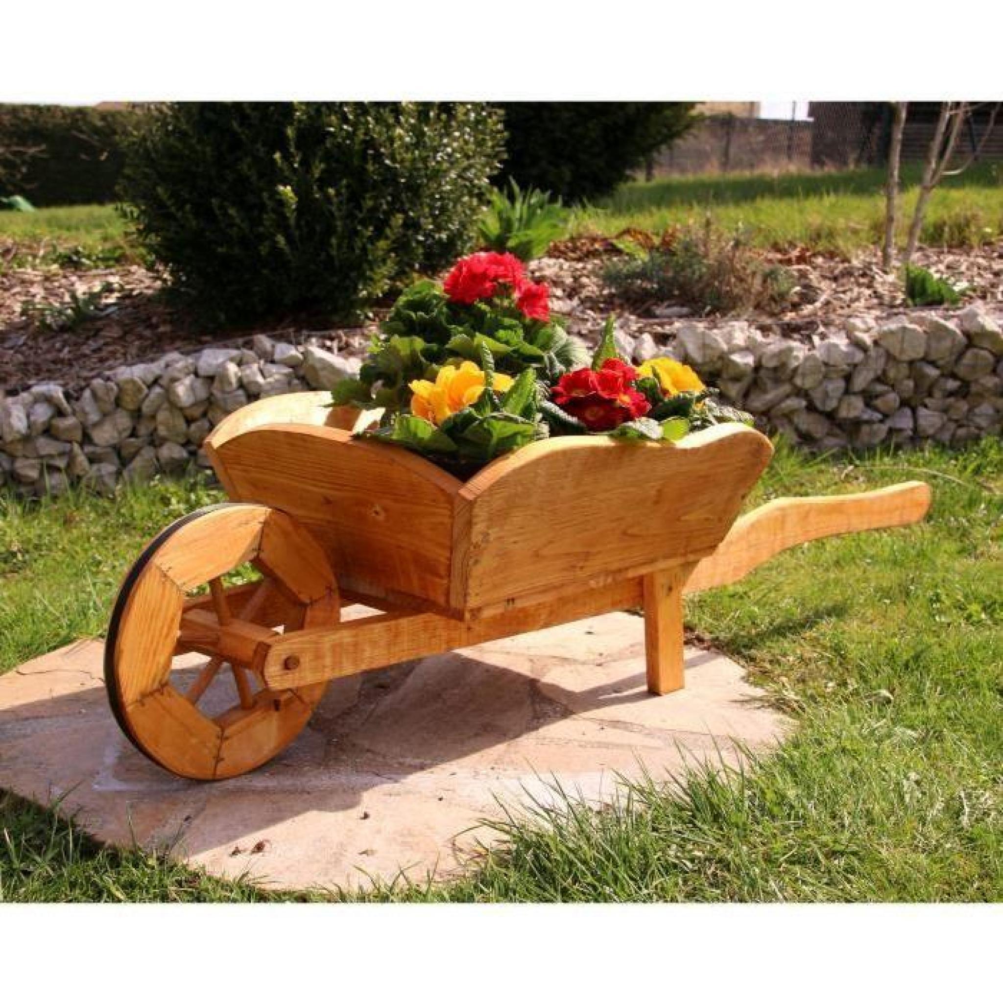 Brouette Fleurs Diable Brouette En Bois Typ 1 Moyen concernant Brouette Deco Jardin