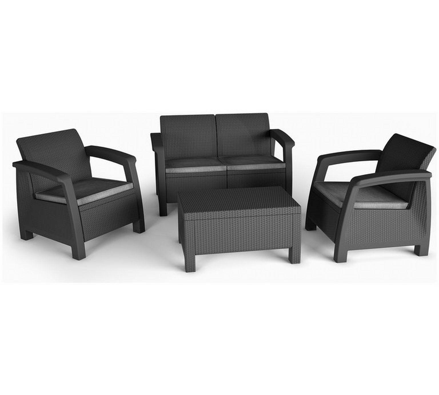 Buy Keter Bahamas Rattan 4 Seater Garden Lounge Set ... serapportantà Salon De Jardin Keter