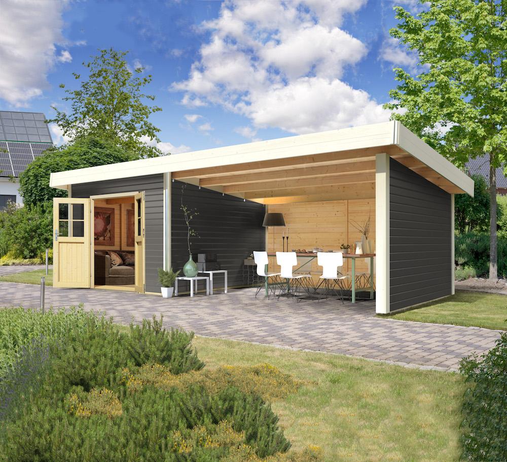 """Cabane De Jardin """"moosburg 3"""" Gris Terre Avec Abri Karibu 609 X 309 X 238 Cm pour Gouttière Pour Abri De Jardin"""